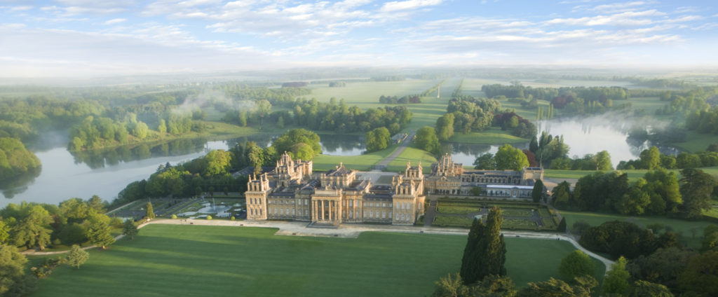 Aerial view of 18th century Blenheim Palace and grounds. Garden designed by Capability Brown.