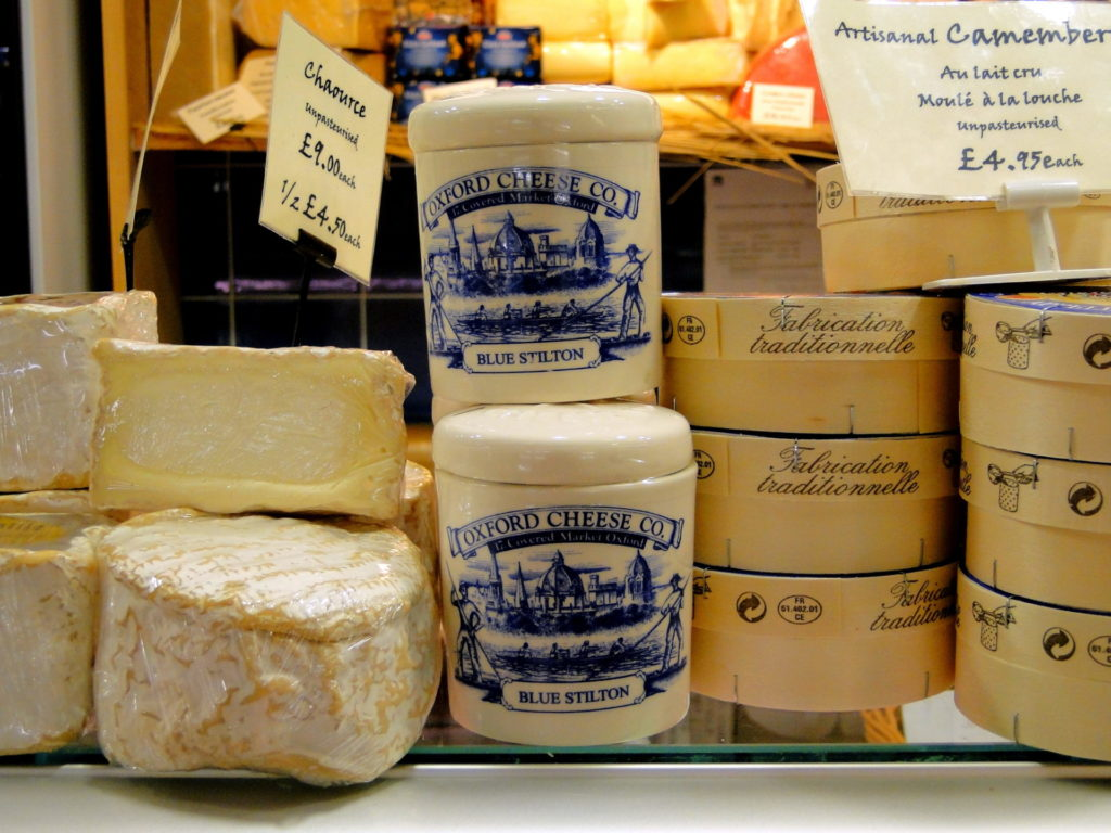 Display of Oxford Blue Cheese.